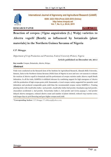 Reaction of cowpea (Vigna unguiculata (L.) Walp) varieties to Alectra vogelii (Benth) as influenced by botanicals (plant materials) in the Northern Guinea Savanna of Nigeria