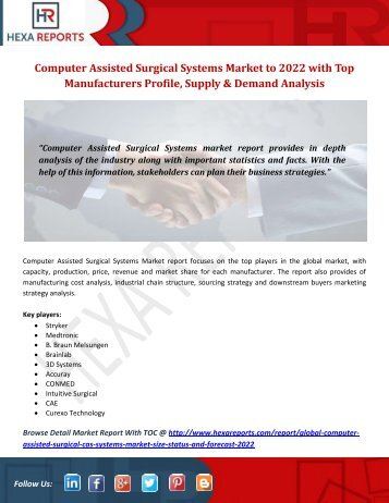 Computer Assisted Surgical Systems Market to 2022 with Top Manufacturers Profile, Supply & Demand Analysis