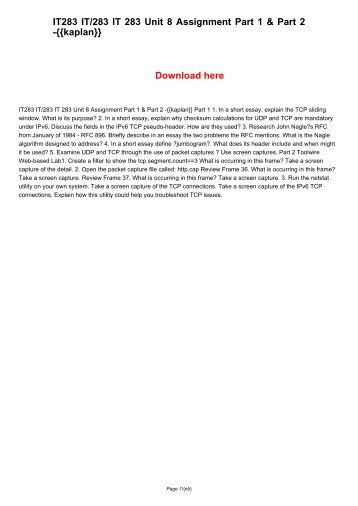 IT283 IT/283 IT 283 Unit 8 Assignment Part 1 & Part 2 -{{kaplan}}