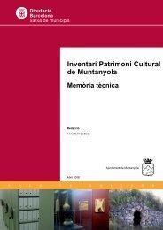 Inventari Patrimoni Cultural de Muntanyola Memòria tècnica