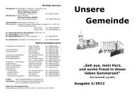 """Unsere Gemeinde Ausgabe 2/2012 """"Geh aus, mein Herz, und suche ..."""