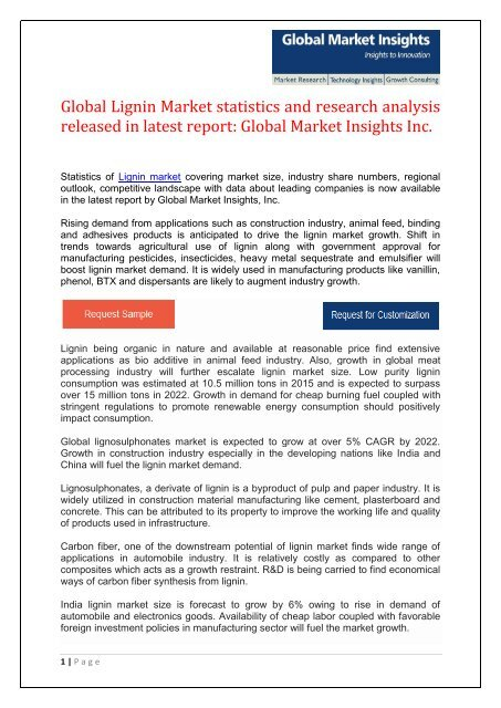 Lignin Market report for 2015-2022 – companies, applications