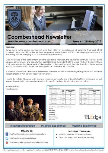 Coombeshead Academy Newsletter - Issue 61