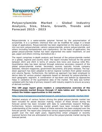 Polyacrylamide Market - Global Industry Analysis, Size, Share, Growth, Trends and Forecast 2015 - 2023