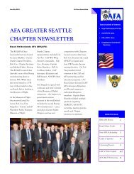 Air Force Association, Greater Seattle Chapter, 2015 - 1st Quarter