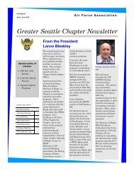 Air Force Association, Greater Seattle Chapter, 2016 - 2nd Quarter
