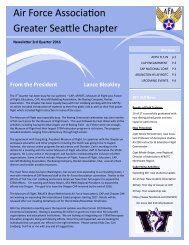 Air Force Association, Greater Seattle Chapter, 2016 - 3rd Quarter