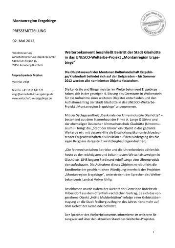Montanregion Erzgebirge PRESSEMITTEILUNG 02. Mai 2012 ...