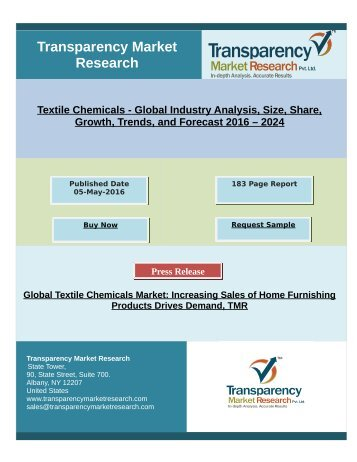 Textile Chemicals Market Research By 2024