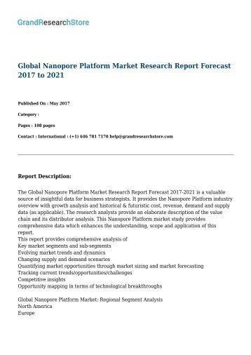 Global Nanopore Platform Market Research Report Forecast 2017 to 2021