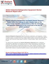 Industrial Refrigeration Equipment Market Analysis Report 2017 By Radiant Insights,Inc