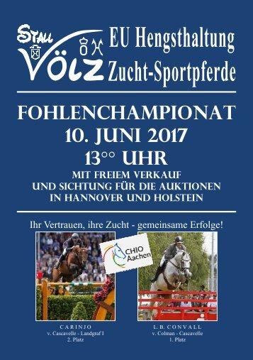 Fohlenchampionat Hengststation VÖLZ - 10. Juni - 13°°Uhr