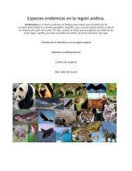 Especies endémicas en la región andina