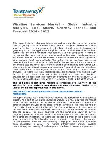 Wireline Services Market - Global Industry Analysis, Size, Share, Growth, Trends, and Forecast 2014 - 2022