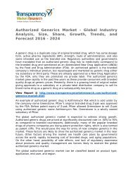 Authorized Generics Market - Global Industry Analysis, Size, Share, Growth, Trends, and Forecast 2016 - 2024
