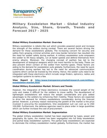 Military Exoskeleton Market - Global Industry Analysis, Size, Share, Growth, Trends and Forecast 2017 - 2025