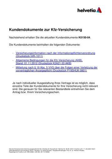 Kundendokumente zur Kfz-Versicherung