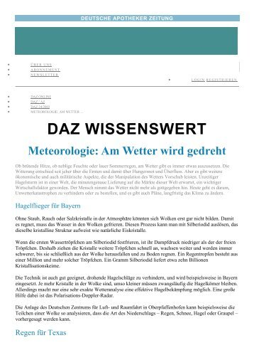 Wettermanipulation - DAZ - deutsche Apothekerzeitung 2003