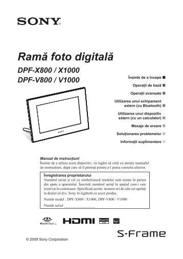 Sony DPF-V800 - DPF-V800 Mode d'emploi Roumain