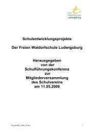 Projektstatusblatt - Freie Waldorfschule Ludwigsburg