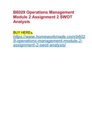 B6029 Operations Management Module 2 Assignment 2 SWOT Analysis