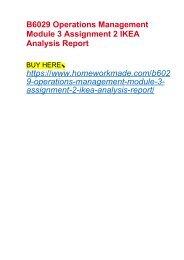 B6029 Operations Management Module 3 Assignment 2 IKEA Analysis Report