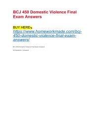 BCJ 450 Domestic Violence Final Exam Answers