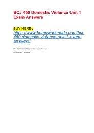 BCJ 450 Domestic Violence Unit 1 Exam Answers