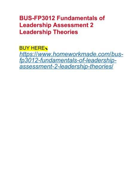 BUS-FP3012 Fundamentals of Leadership Assessment 2