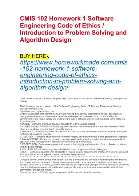 Cmis 102 Homework 1 Software Engineering Code Of Ethics Introduction To Problem Solving And Algorithm Design