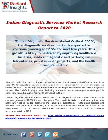 Indian Diagnostic Services Market Research Report to 2020
