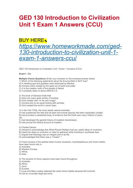 GED 130 Introduction to Civilization Unit 1 Exam 1 Answers (CCU)