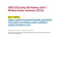 GED 232 Early US History Unit 1 Written Exam Answers (CCU)