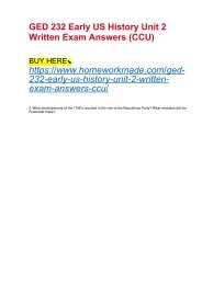 GED 232 Early US History Unit 2 Written Exam Answers (CCU)