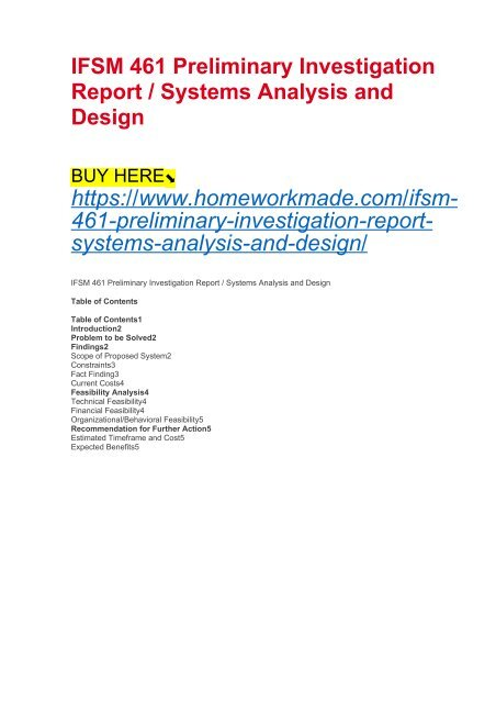 Ifsm 461 Preliminary Investigation Report Systems Analysis And Design