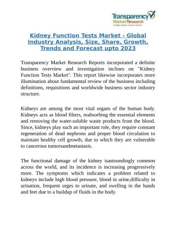 Kidney Function Tests Market