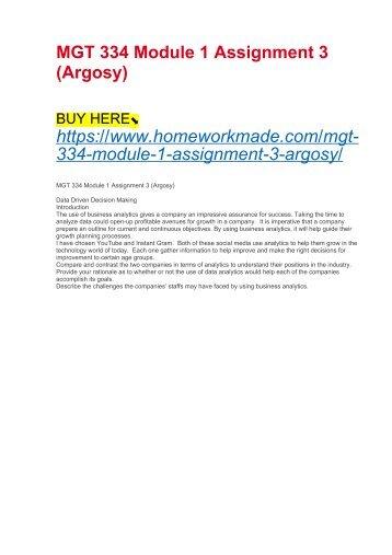 MGT 334 Module 1 Assignment 3 (Argosy)