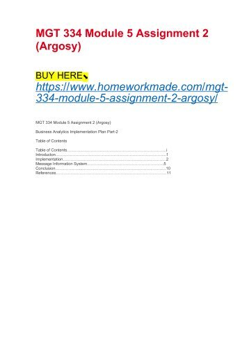 MGT 334 Module 5 Assignment 2 (Argosy)