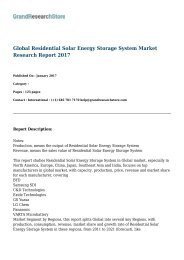 Global Residential Solar Energy Storage System Market Research Report Forecast 2017 to 2021