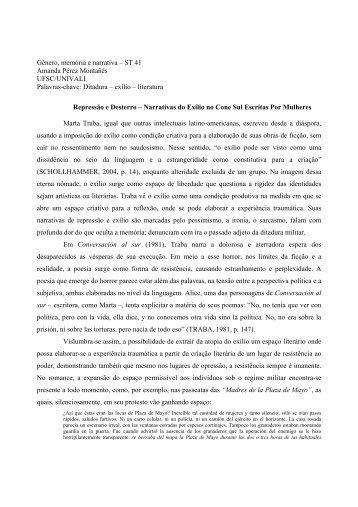 Gênero, memória e narrativa – ST 41 Amanda Pérez Montañés ...