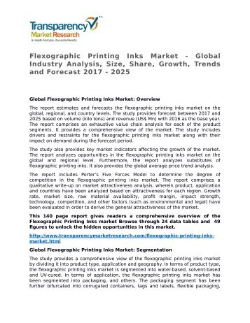 Flexographic Printing Inks Market - Global Industry Analysis, Size, Share, Growth, Trends and Forecast 2017 - 2025