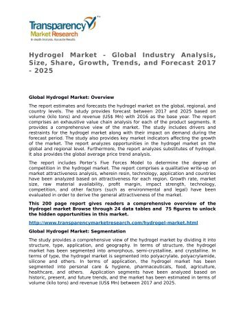 Hydrogel Market - Global Industry Analysis, Size, Share, Growth, Trends, and Forecast 2017 - 2025