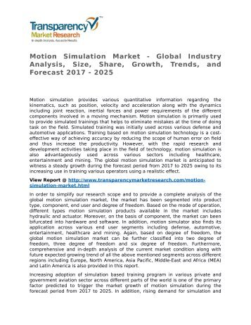 Motion Simulation Market - Global Industry Analysis, Size, Share, Growth, Trends, and Forecast 2017 - 2025