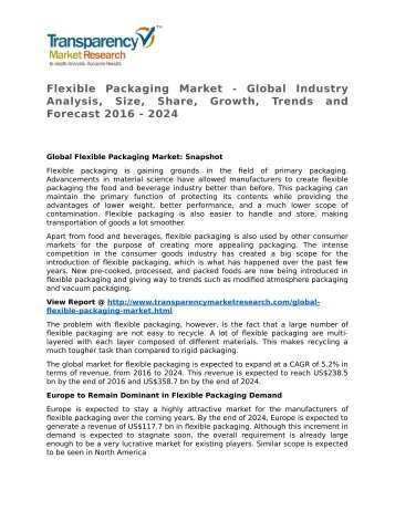 Flexible Packaging Market - Global Industry Analysis, Size, Share, Growth, Trends and Forecast 2016 - 2024