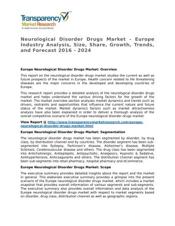 Neurological Disorder Drugs Market - Europe Industry Analysis, Size, Share, Growth, Trends, and Forecast 2016 - 2024