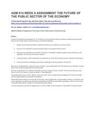 ADM 614 WEEK 8 ASSIGNMENT THE FUTURE OF THE PUBLIC SECTOR OF THE ECONOMY