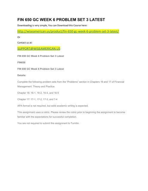 FIN 650 GC WEEK 6 PROBLEM SET 3 LATEST