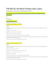 FIN 650 GC All Week Problem Sets Latest