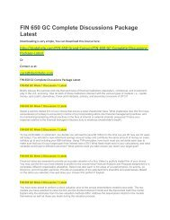 FIN 650 GC Complete Discussions Package Latest