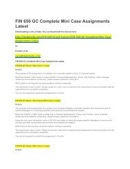 FIN 650 GC Complete Mini Case Assignments Latest